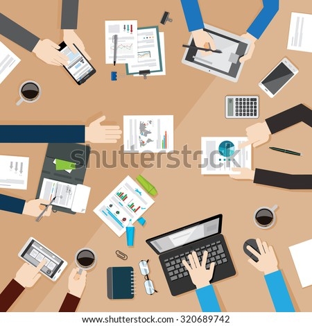 Concept of business meeting. Hands using using hich tech devices and showing reports. Brainstorming. Work place. Vector illustration in flat style. - stock vector