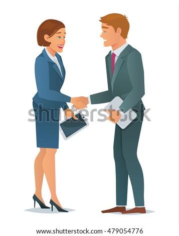 cartoon businessman handing over resume business stock vector