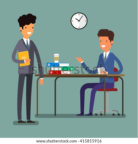 Concept of business relationships, office time management. Flat design, vector illustration. - stock vector