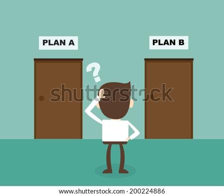 Concept of businessman choosing the door  - stock vector
