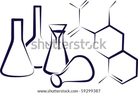 Concept of  chemical industry. Sketch - stock vector
