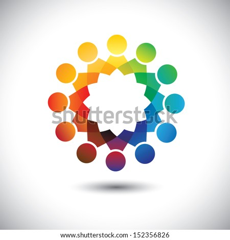 Concept of children ( kids ) playing,having fun together vector graphic. This illustration also represents community of people, office staff in circles or union of workers, employee meetings, etc  - stock vector