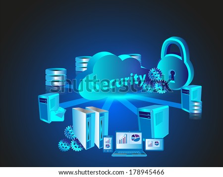 Concept of Cloud computing and Security - stock vector