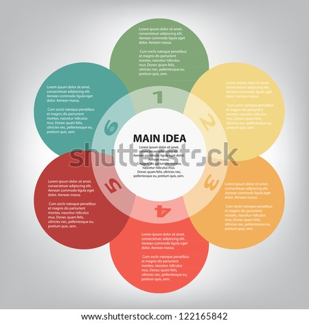 Concept of colorful circular banners in flower form for different business design. Vector illustration - stock vector