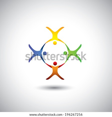 Concept of community unity, solidarity & people icons - vector graphic. This illustration can also represent colorful kids playing together, children in school playground, employees meeting  - stock vector
