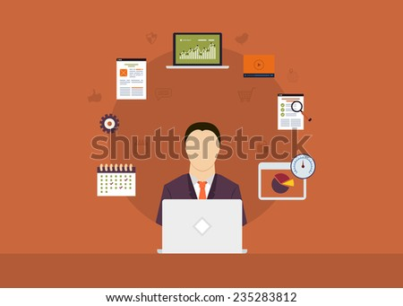 Concept of consulting services, project management, time management, marketing research, strategic planning. All elements are around icon of businessman - stock vector