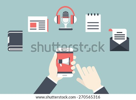 Concept of Content Marketing. Ways of interacting with the client - vector illustration - stock vector