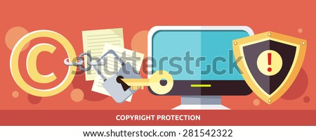 Concept of Copyright protection of intellectual property and data in Internet and violation of the law. Law illustration, key in the keyhole, computer. For web banners, promotion, presentation  - stock vector