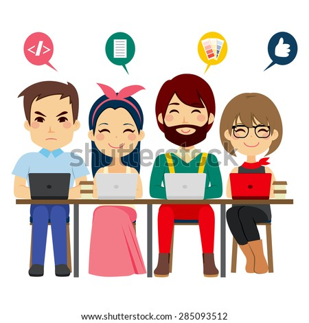 Concept of coworking center with people of different professions talking and working as team with laptops - stock vector
