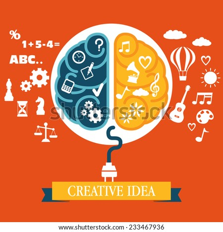 Concept of creative idea with the human brain - stock vector