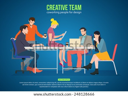 Concept of creative team. Business meeting and coworking people for your design.  Talking and working people at the table in the office. Flat design vector illustration with place for text. - stock vector