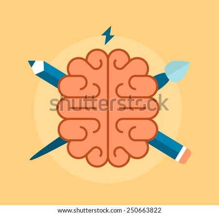 concept of creativity and intelligence, vector illustration - stock vector