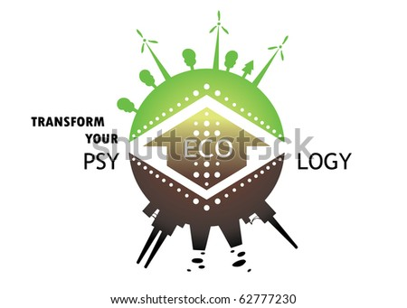 concept of different types of energy production methods. Planet earth green future with green energy and polluted one with current methods - stock vector
