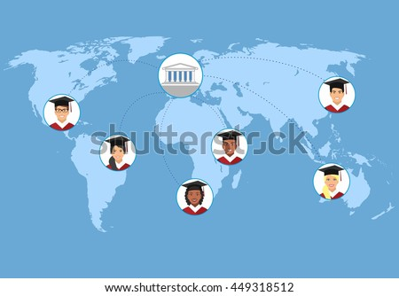 Concept of distance online and e-learning education. distance learning, flat vector illustration. illustration with smiling students and the university in the center.