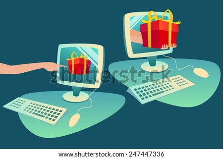 Concept of e-commerce purchase goods from internet - stock vector