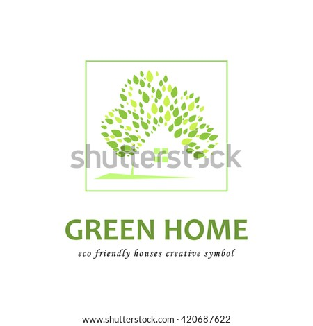 Concept of eco friendly green houses. Vector logo template - stock vector
