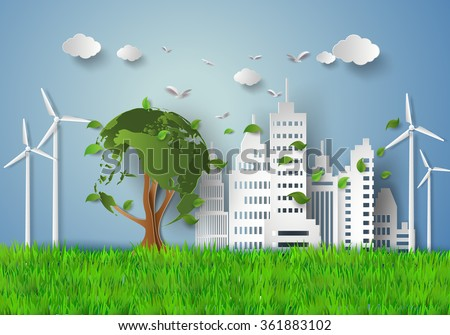 concept of eco with building and nature.paper cut style - stock vector