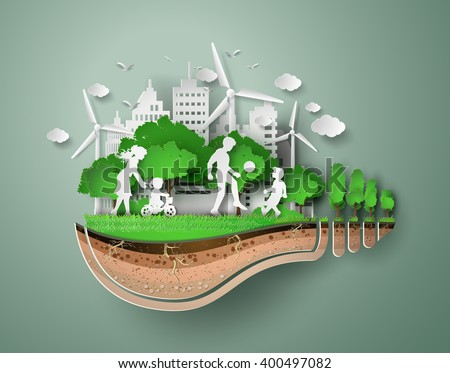 concept of eco with family.paper art style. - stock vector