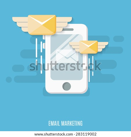 Concept of email marketing. Flat design. Vector Illustration.