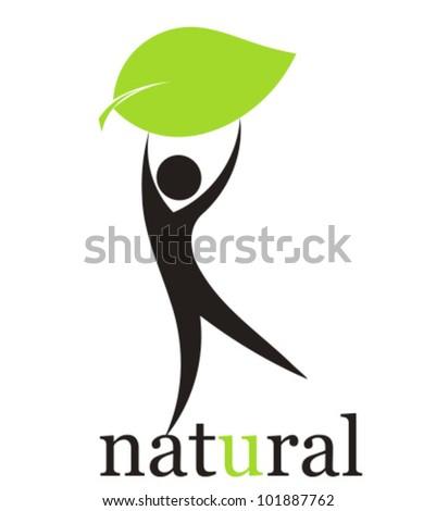 Concept of environmental friendly man. Illustration - stock vector