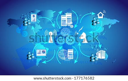 Concept of ESB blue background and illustrates how the enterprise applications are integrated with Bus topology and employees connecting various systems like home, office through VPN, MPLS  - stock vector