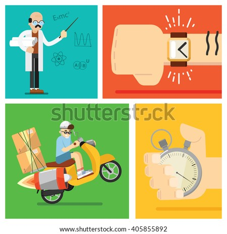 Concept of express delivery. Transport Development. Jet scooter. Courier. Stopwatch time. Fast shipping. Vector illustration. Rocket delivery of goods, food parcels. - stock vector