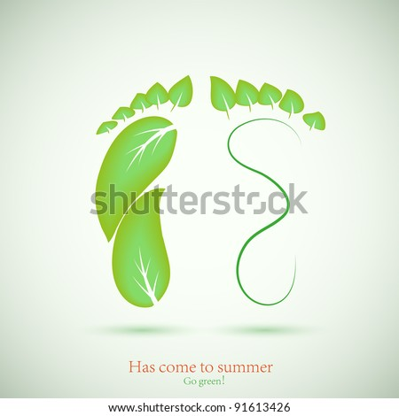 concept of footprint and green leaf. Vector illustration. Best choice - stock vector