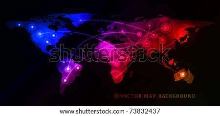 Concept of global business with world map. Vector illustration - stock vector