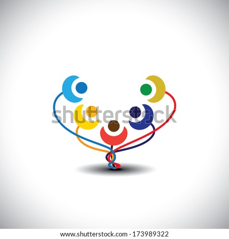 concept of happy family tree with members as flowers - vector graphic. This graphic also represents students of school, happy children, playful kids, people having fun, cheerful community  - stock vector