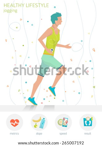 Concept of healthy lifestyle. Young man is jogging. Running.  - stock vector