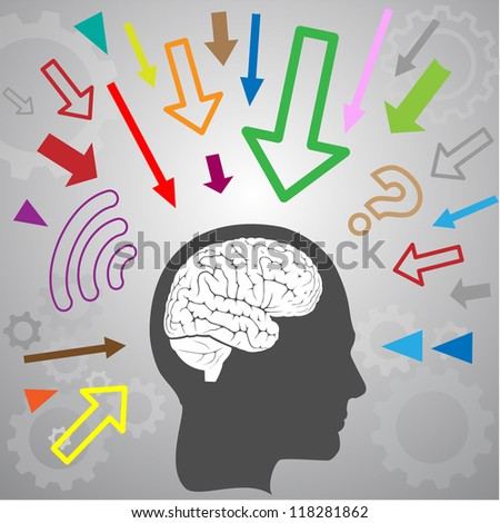 concept of human brain - stock vector