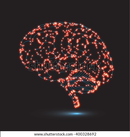 Concept of human intelligence with human brain on black background. Vector illustration.