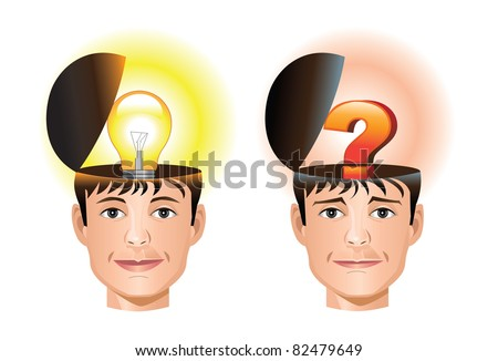 Concept of idea and question/ confusion coming from a human head - stock vector