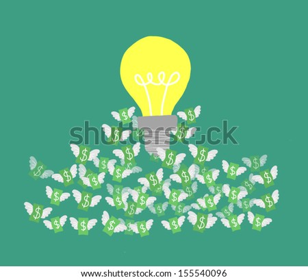 concept of idea bulb.Vector illustration.bulb and money