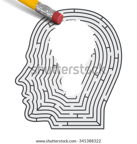 Concept of idea. Labirint in form of man head with pencil wipe off region in form of light bulb. - stock vector