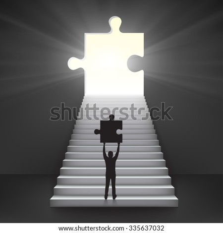Concept of important work. Bussiness man hold in hands part of puzzle in the start of ladder and with luminous hole in form of puzzle. - stock vector