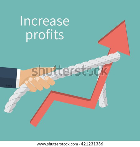 Concept of increased profits. Statistics rise. Businessman raises up the schedule, increasing profit performance. Vector illustration flat design.