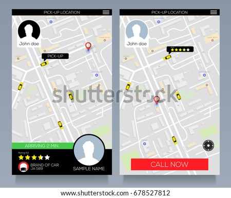 Concept of location service. pick up taxi service app on mobile phone. Call cab with smartphone. Vector eps10