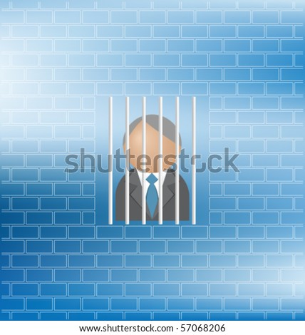 Concept of man feeling being a prisoner with copy space - stock vector
