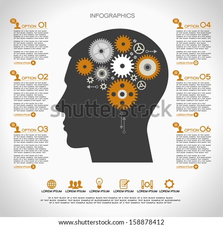 Concept of modern business. Silhouette of a human head with the brain and gears. Infographics template. - stock vector
