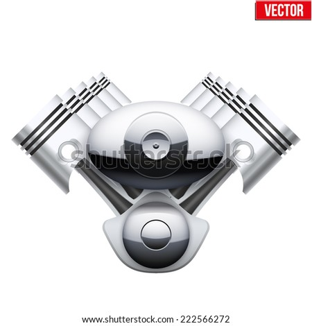 Concept of modern car engine with pistons. Vector Illustration Isolated on white background. - stock vector