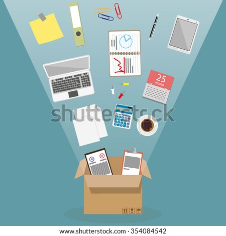 Concept of moving into a new office, cardboard box with documents, laptop, calculator, calendar, tablet PC, coffee cup, blank papers. vector illustration in flat design on blue background - stock vector