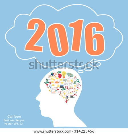 Concept of  New Year 2016 Text Design, Creative human brain with business finance chart and graph idea concept, Vector Illustration EPS 10. - stock vector