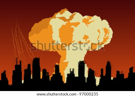 Concept of nuclear explosion cloud in shape of mushroom over city silhouette. Easy editable layered vector illustration - stock vector