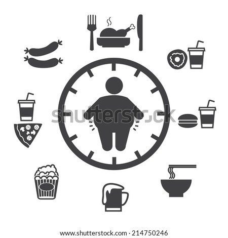 Concept of obesity caused by food and drink, Vector icons - stock vector
