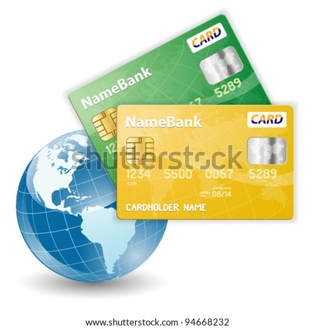 Concept of Online Shopping with Credit Cards and the Globe, vector illustration - stock vector
