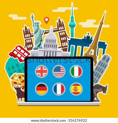 Concept of planning vacation or studying languages. Colorful travel vector flat banner for your business, websites etc. Flat design, vector illustration. - stock vector