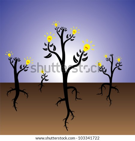 Concept of plants of ideas and solution growing in fertile mind. - stock vector