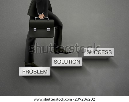 concept of problem solving process with businessman going up stairs  - stock vector