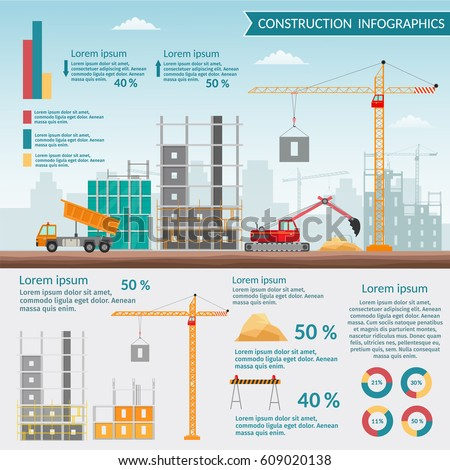 Concept Process Construction Building House Vector Stock